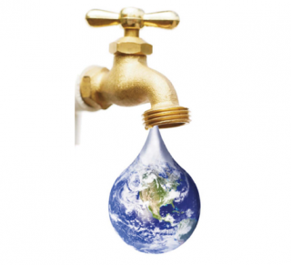 Faucet from which drips the earth in the manner of a droplet